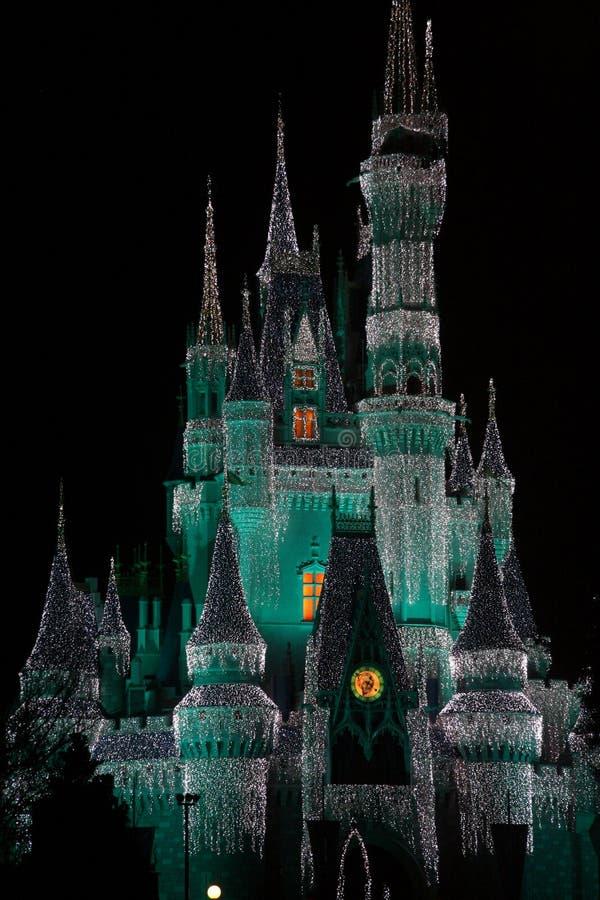 Het Kasteel van Disney bij Nacht stock foto
