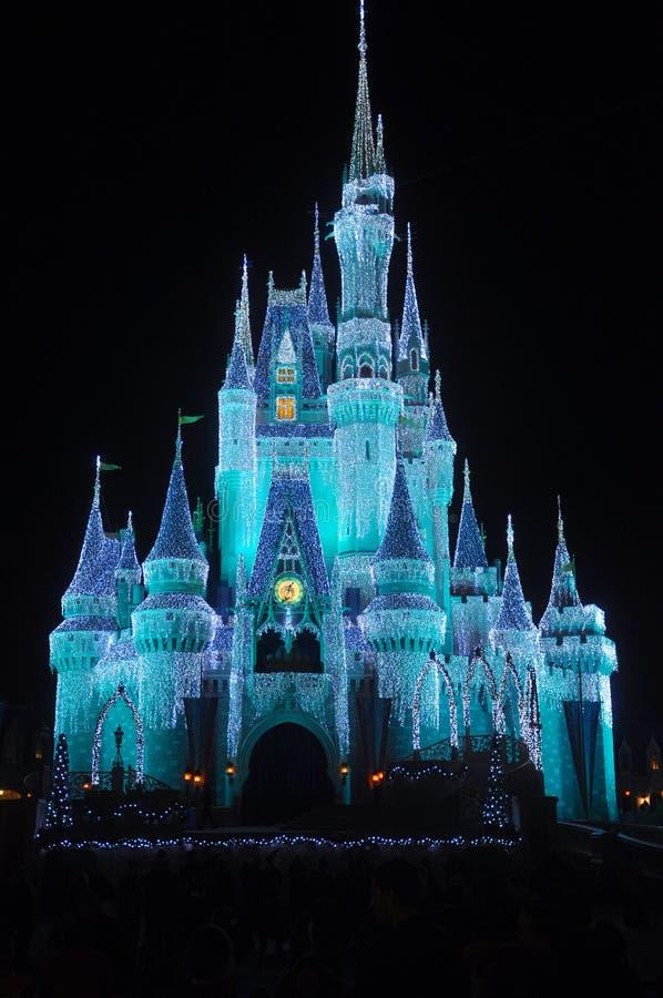 Het Kasteel van Disney Cinderella bij nacht stock afbeelding