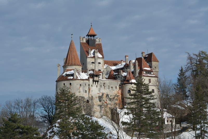 Het Kasteel van Dracula` s Zemelen in de winter stock fotografie