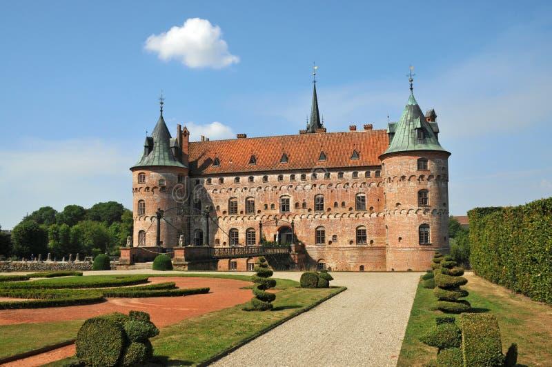 Het kasteel van Egeskov, Denemarken stock foto's