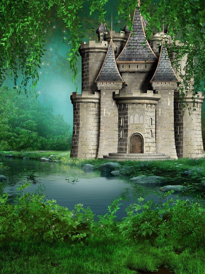 Het kasteel van Fairytale door de rivier vector illustratie