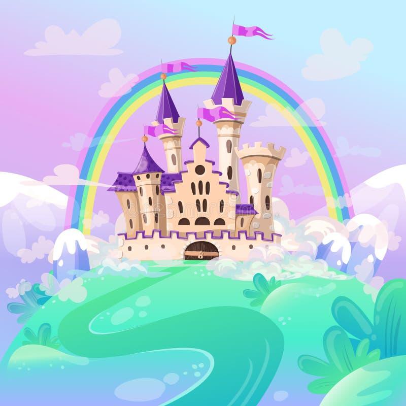Het kasteel van het FairyTalebeeldverhaal Leuk beeldverhaalkasteel Het paleis van het fantasiesprookje met regenboog Vector illus royalty-vrije illustratie