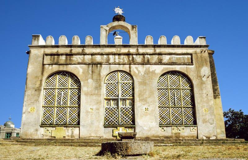 Het kasteel van Fasilfasil Ghebbi in Gondar, Ethiopië wordt gevestigd dat royalty-vrije stock afbeeldingen