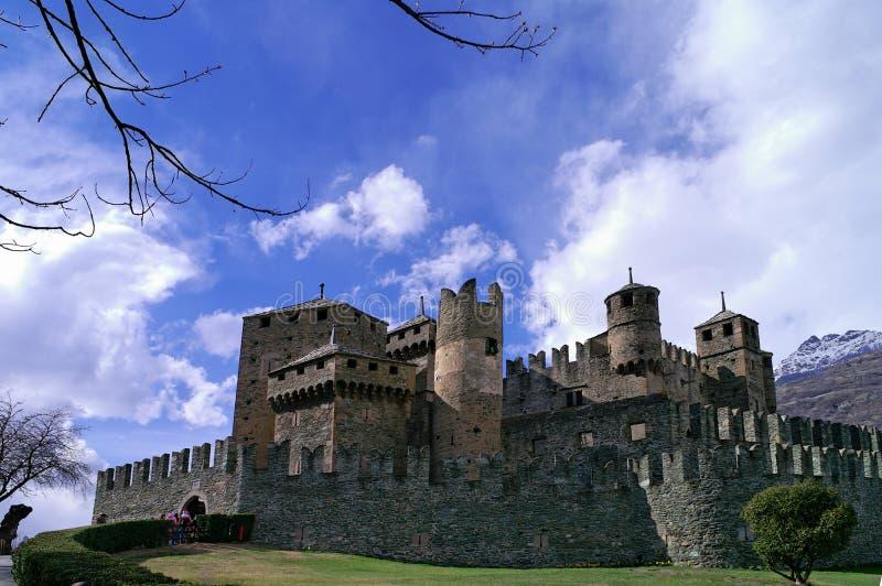 Het kasteel van Fenis - Aosta - Italië stock foto