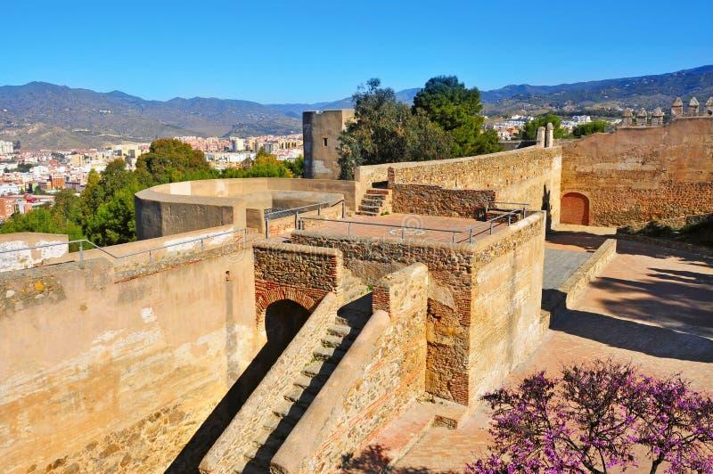 Het Kasteel van Gibralfaro in Malaga, Spanje royalty-vrije stock afbeelding
