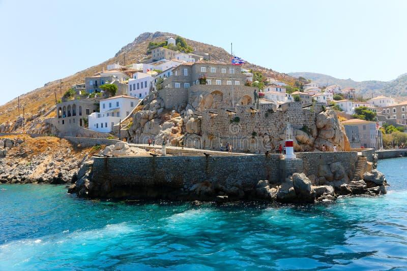 Het Kasteel van het Hydraeiland, Griekenland stock foto's