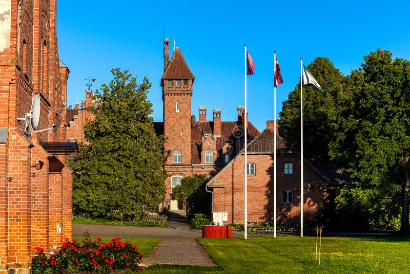 Het kasteel van Jaunmoku in Letland stock fotografie
