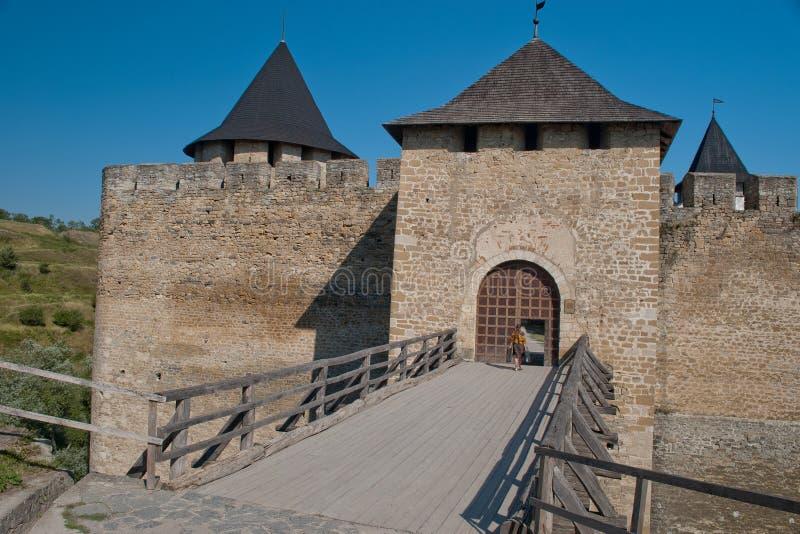 Het kasteel van Khotyn stock foto's