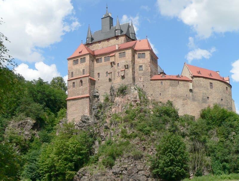 Het kasteel van Kriebstein in Saksen stock foto's