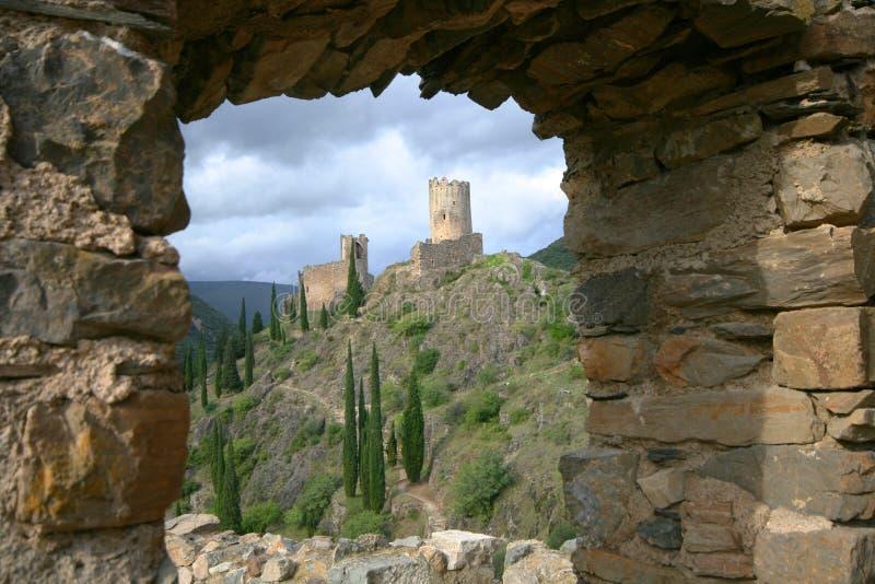 Het kasteel van Lastours royalty-vrije stock foto's