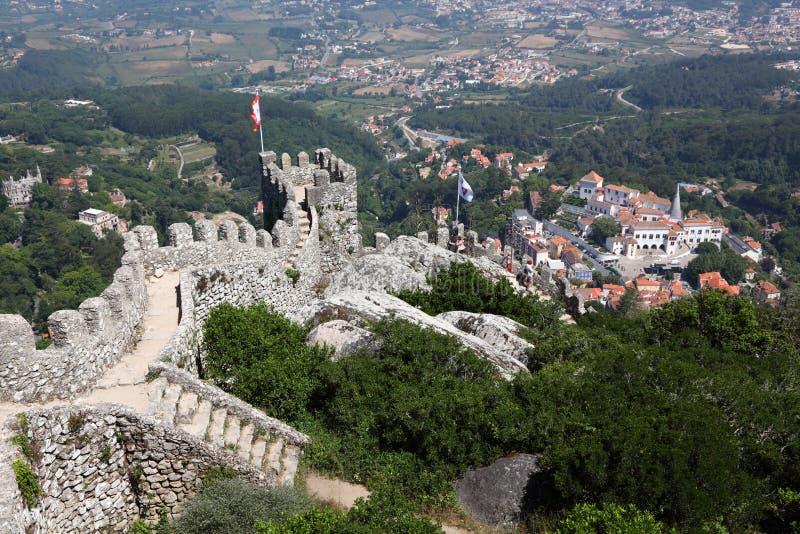 Het kasteel van legt in Sintra vast stock foto