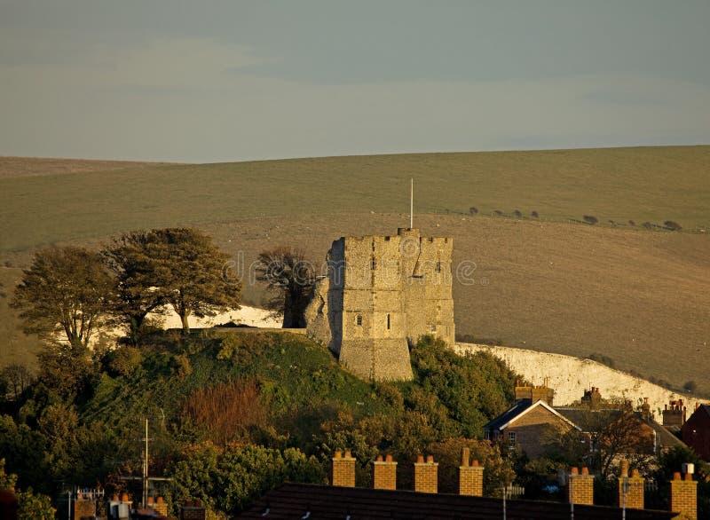 Het Kasteel van Lewes in avondzon royalty-vrije stock foto's
