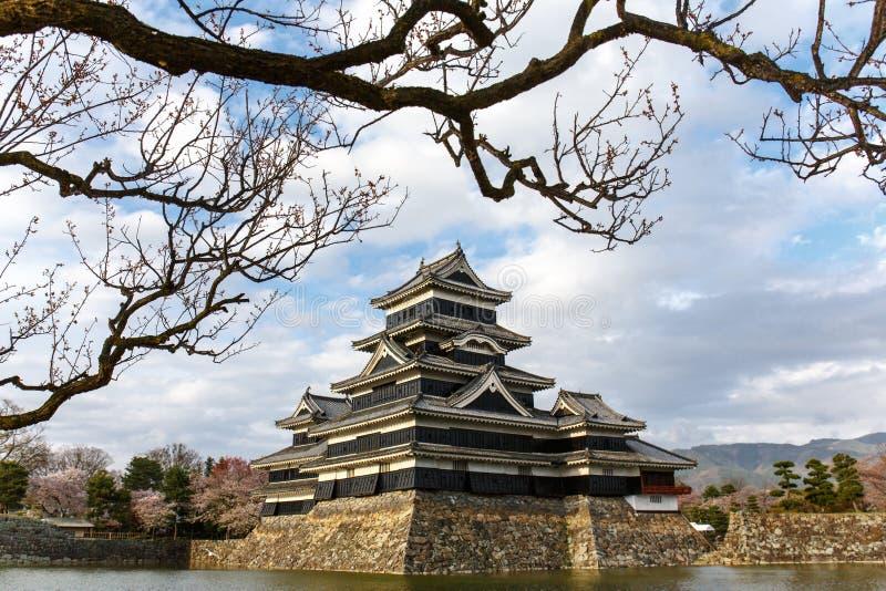 Het kasteel van Matsumoto in lentetijd door water onder clou wordt omringd die stock foto's