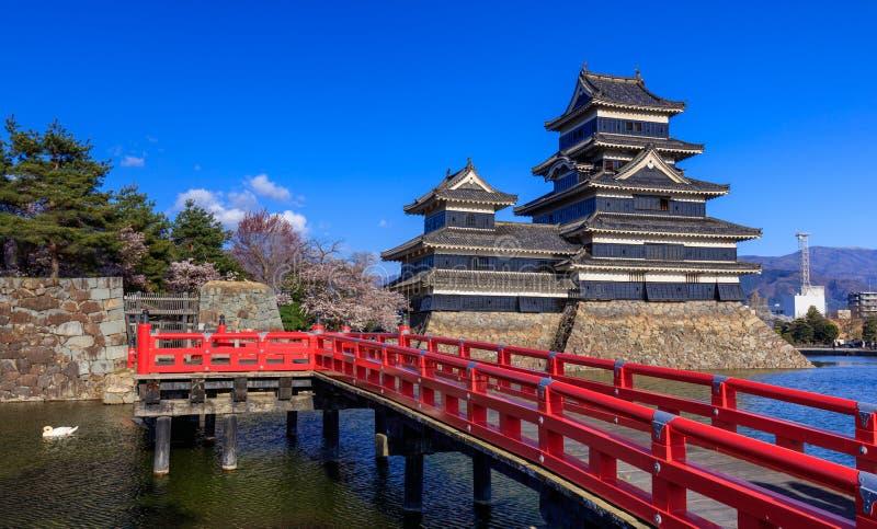 Het kasteel van Matsumoto in lentetijd, Nagano, Japan royalty-vrije stock fotografie