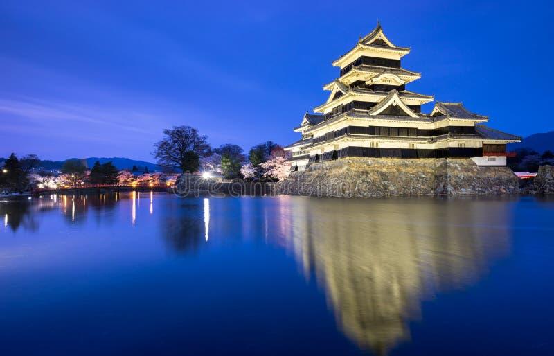 Het kasteel van Matsumoto in lentetijd, Nagano, Japan stock afbeeldingen