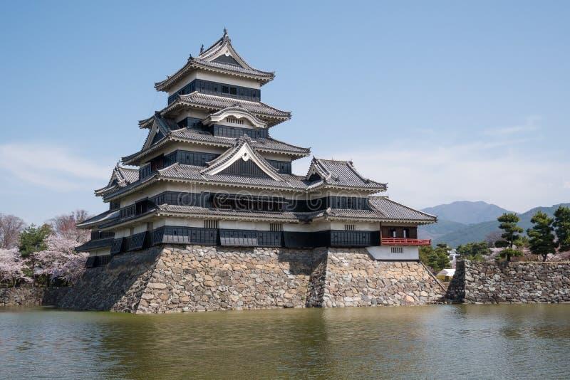 Het kasteel van Matsumoto met blauwe hemel in de stad van Nagano royalty-vrije stock afbeeldingen