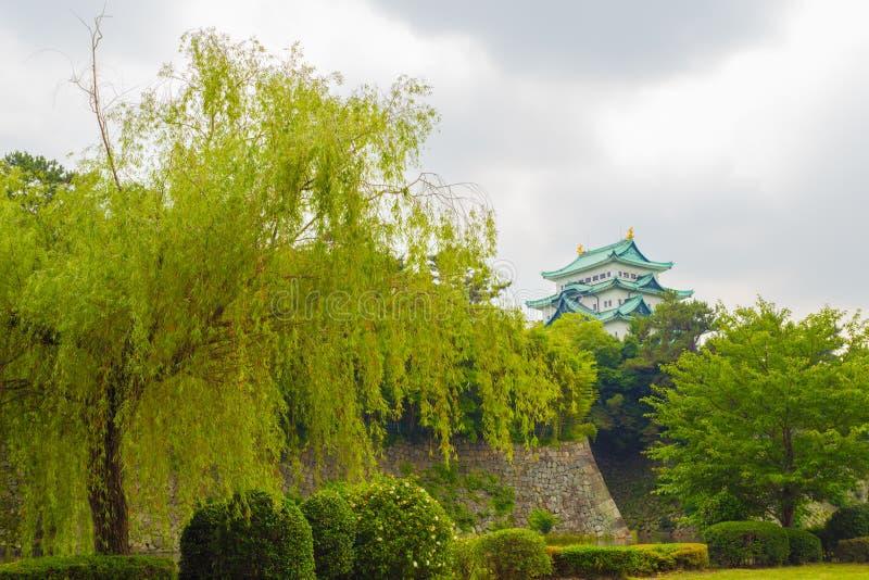 Het Kasteel van Nagoya Hoog boven Borstweringbomen royalty-vrije stock foto
