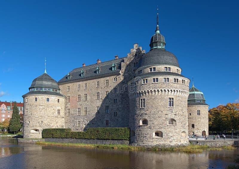 Het Kasteel van Orebro, Zweden stock foto