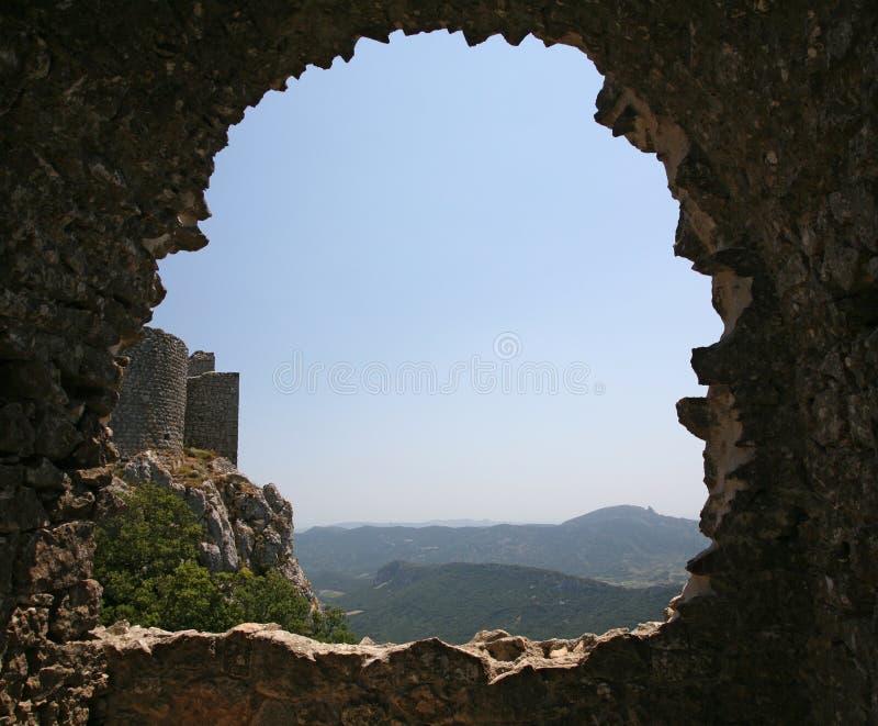 Het kasteel van Peyrepertuse stock foto