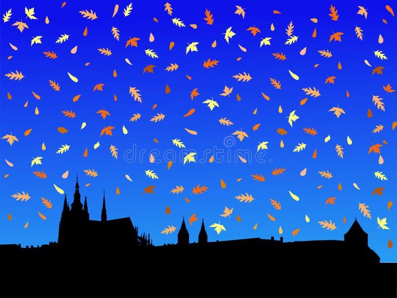 Het kasteel van Praag in de herfst stock illustratie