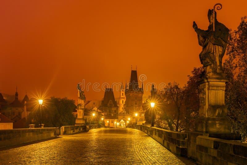 Het Kasteel van Praag en Charles Bridge bij nacht, Tsjechische Republiek stock afbeelding