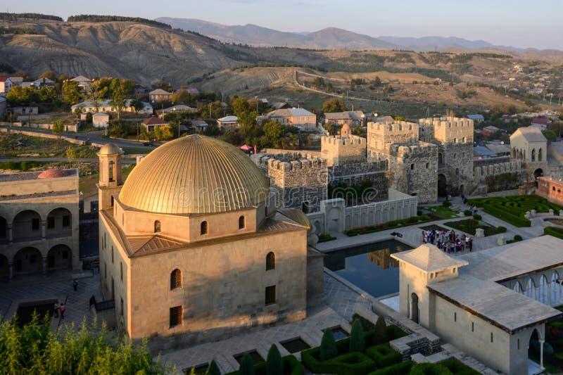 Het kasteel van Rabati 's nachts in Akhaltsikhe, Georgia stock afbeeldingen