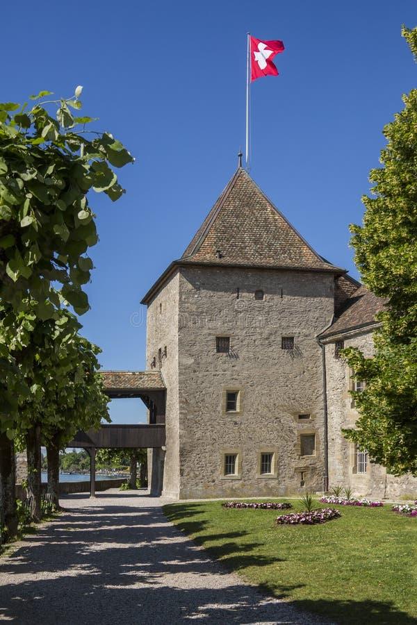 Het Kasteel van Rolle - Meer Genève - Zwitserland royalty-vrije stock afbeelding