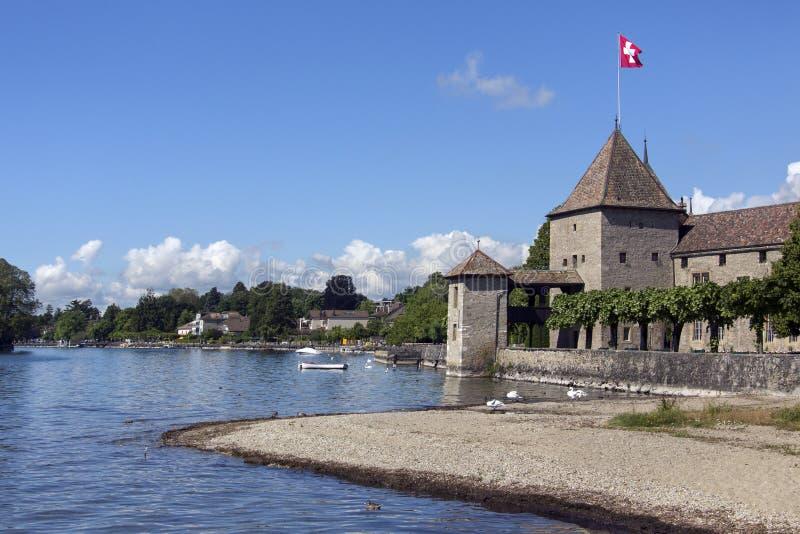 Het Kasteel van Rolle - Meer Genève - Zwitserland stock afbeeldingen
