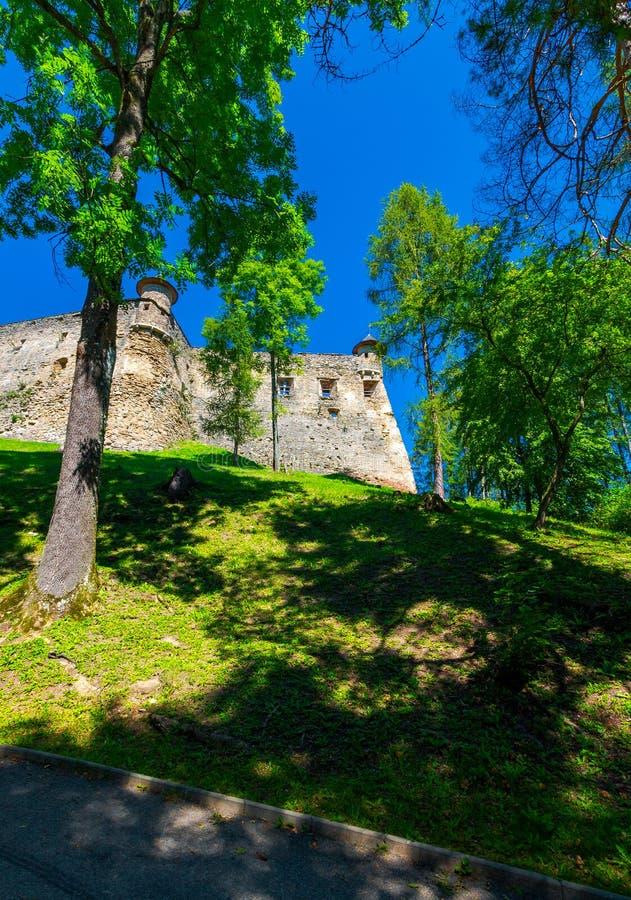Het Kasteel van Staralubovna van Slowakije op de helling stock fotografie