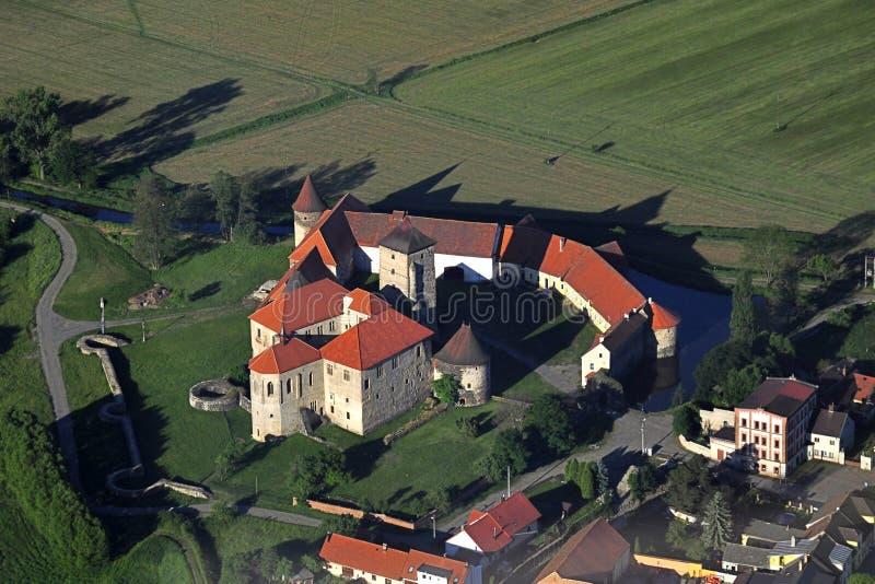 Het kasteel van Svihov - luchtfoto stock afbeeldingen