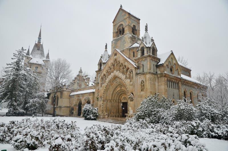 Het kasteel van Vajdahunyad in Boedapest royalty-vrije stock foto