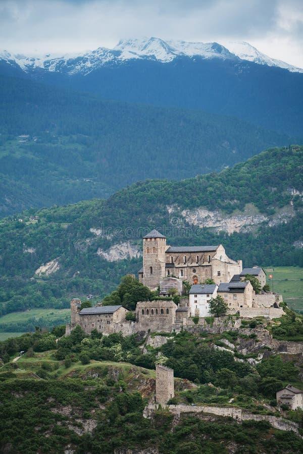 Het kasteel van Valere in Sion, Zwitserland royalty-vrije stock foto