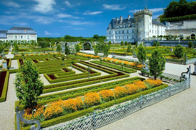 Het Kasteel van Villandry met tuin royalty-vrije stock afbeelding