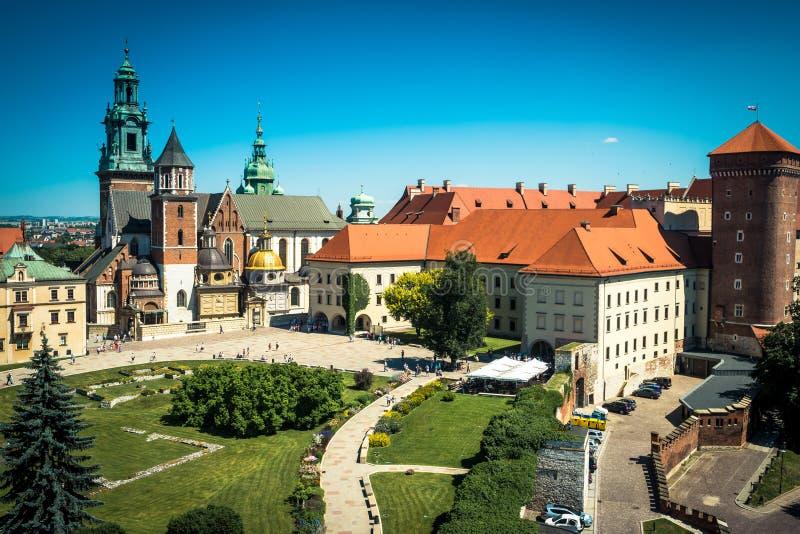 Het Kasteel van Wawel in Krakau stock foto's