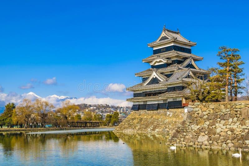 Het Kasteelbuitenkant van Matsumoto, Nagano, Japan royalty-vrije stock foto's