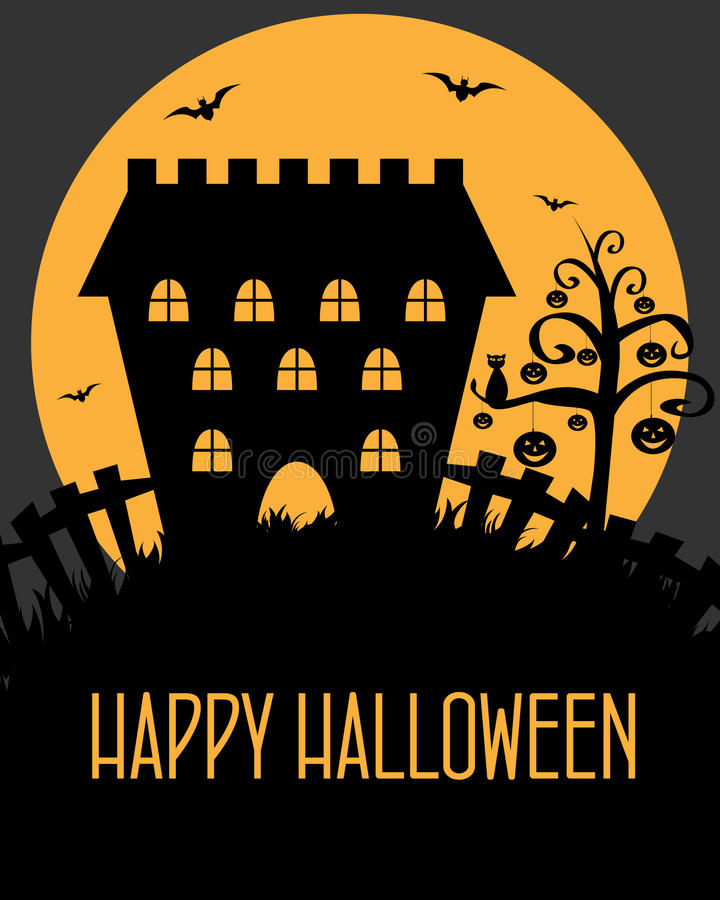 Het kasteelkaart van Halloween vector illustratie