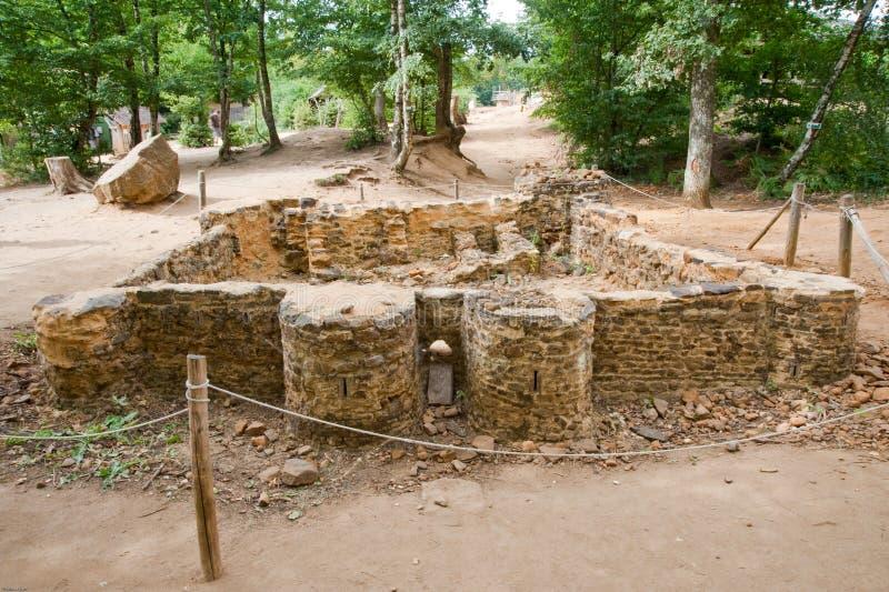 Het kasteelminiatuur van Guedelon stock fotografie