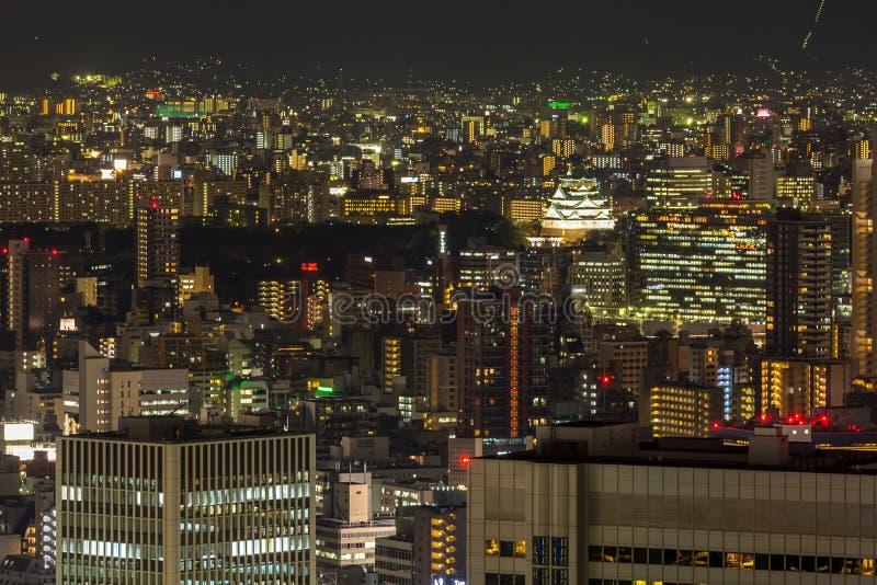 Het kasteelnacht van Osaka royalty-vrije stock foto