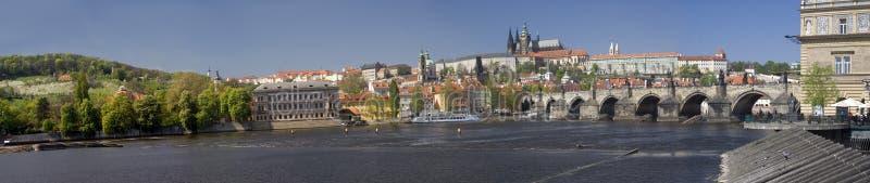 Het kasteelpanorama van Praag stock fotografie