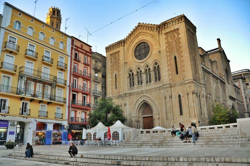 Het Kathedraalvierkant, Spanje Lleida royalty-vrije stock fotografie