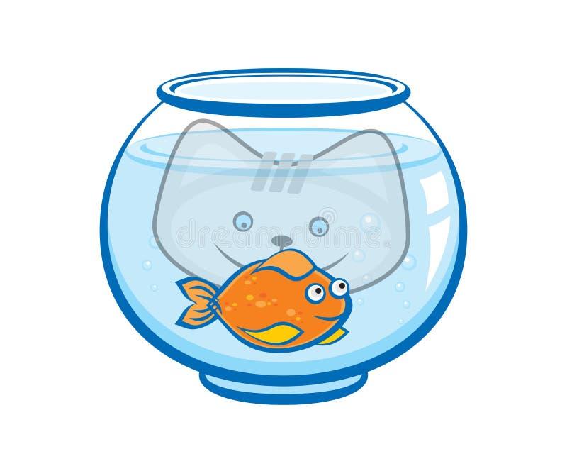 Het katje bekijkt de goudvis in het aquarium Af:drukken voor t-shirt royalty-vrije illustratie
