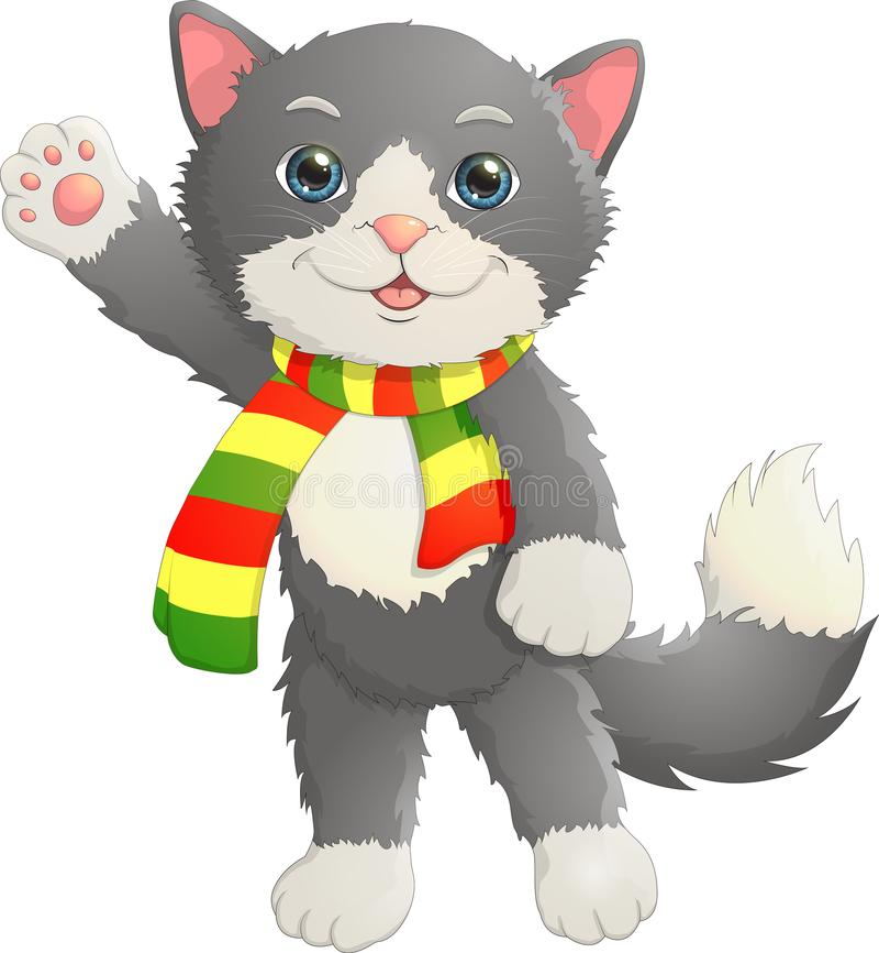 Het katje in de sjaal zegt hello stock fotografie