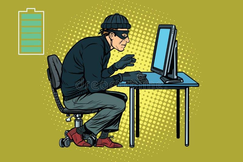 Het Kaukasische hakkerdief binnendringen in een beveiligd computersysteem in een computer royalty-vrije illustratie