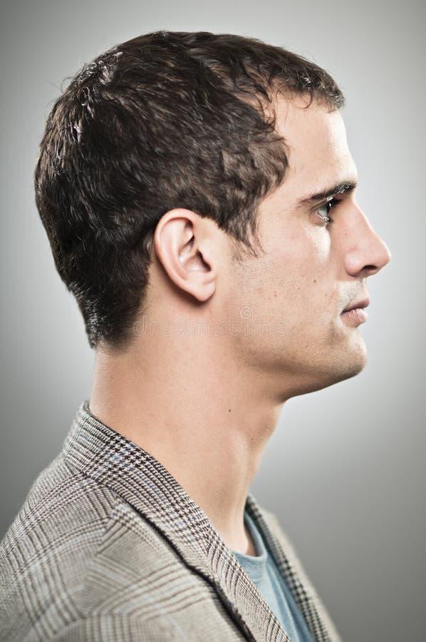 Het Kaukasische Profiel Portrtait van de Mensen Lege Uitdrukking stock fotografie