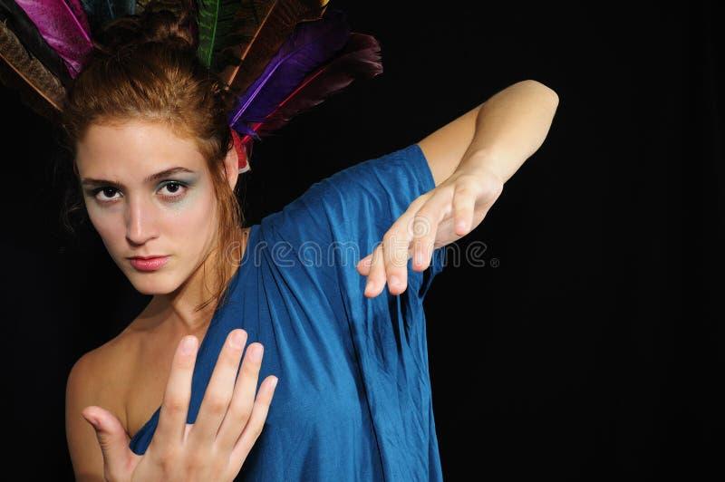 Het Kaukasische vrouw gesturing stock foto's