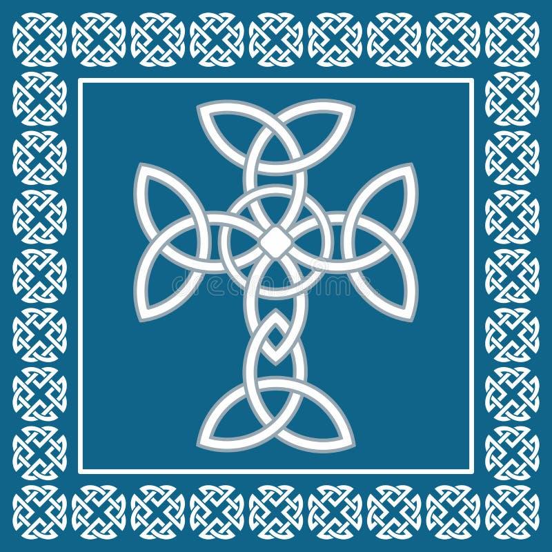 Het Keltische Ierse kruis, symboliseert eeuwigheid, vectorillustratie stock fotografie