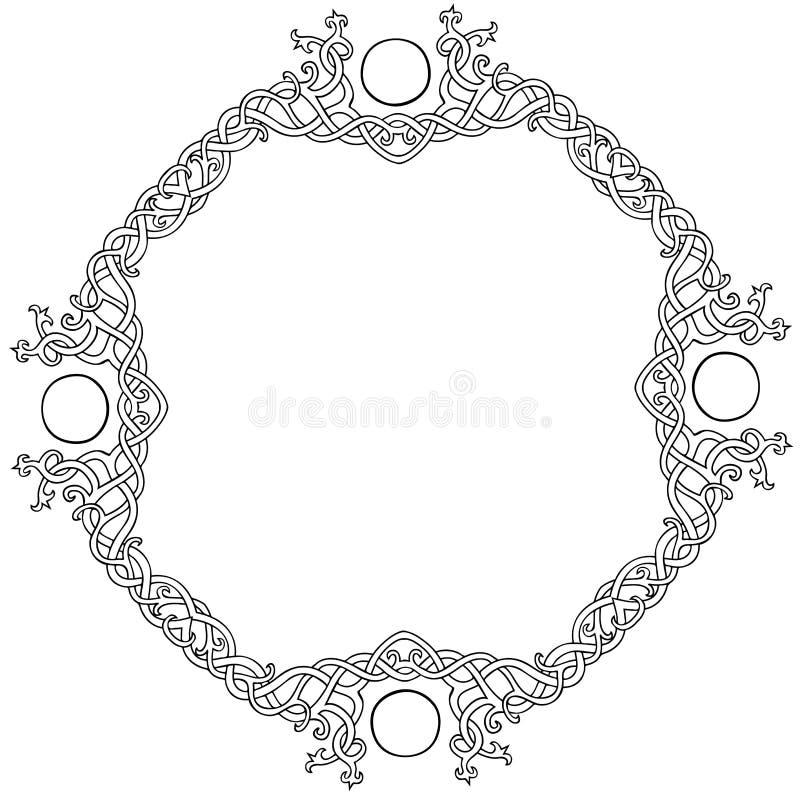 Het Keltische kader van de knoopcirkel stock afbeeldingen