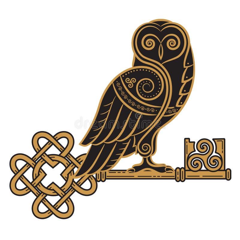 Het Keltische ontwerp Uil en sleutel in In Keltische stijl, een symbool van wijsheid vector illustratie