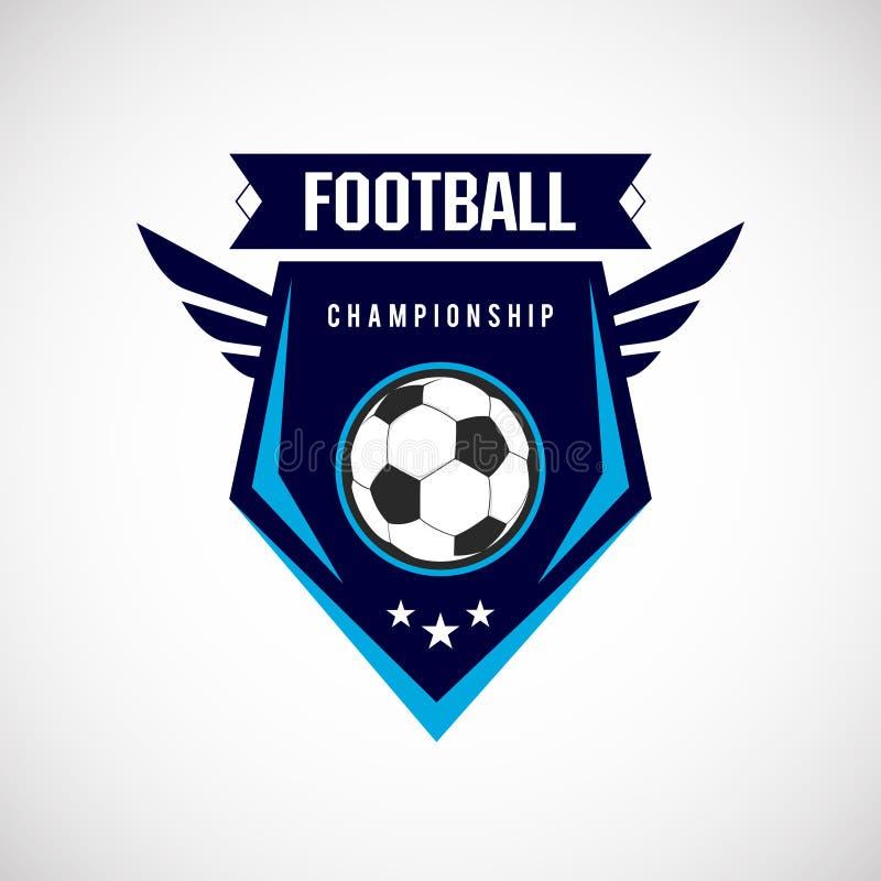 Het Kenteken Logo Design Templates van de voetbalvoetbal   Sport Team Identity Vector Illustrations op blauwe Achtergrond wordt g vector illustratie