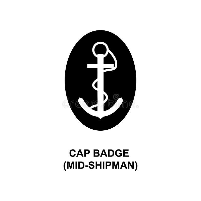 het kenteken medio shipman militair rangen van Japan GLB en insignes glyph pictogram royalty-vrije illustratie